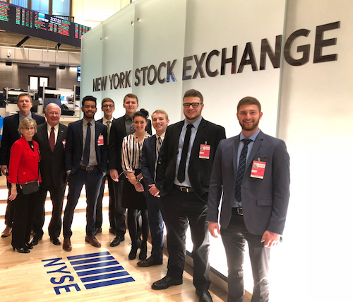 Business students at the New York Stock Exchange