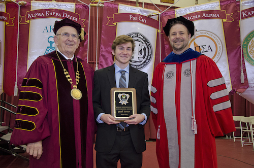 President Jusseaume, Outstanding Student Award Recipient Jacob Turner and Provost Dr. Douglas Palmer