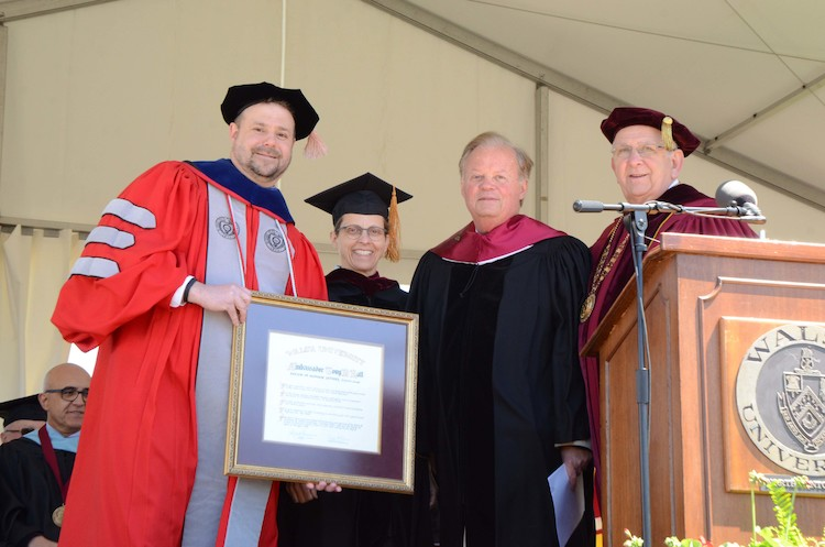 Provost Dr. Douglas Palmer, The Honorable Sara Lioi, Ambassador Tony Hall, President Richard Jusseaume