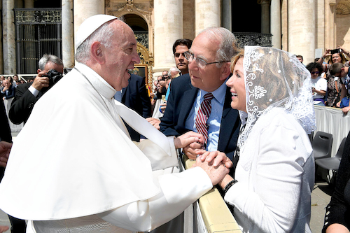President Richard and Mrs. Terie Jusseaume with His Holiness Pope Franics